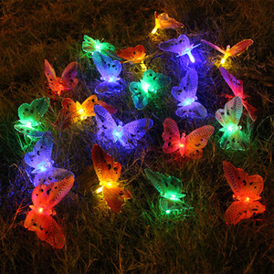 6m 20 주도 태양 램프는 광섬유 나비 태양 광 요정 문자열 태양 광 주도 야외 정원 안뜰 거리 장식을 주도
