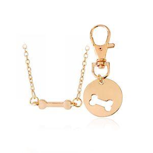 2 adet / takım Altın Gümüş Renk Köpek Kemik Eşleştirme Best Friends Charm NecklaceKeychain BFF Kemikleri Dostluk Pet Köpek Lover Takı