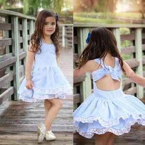 Raya del bebé Backless Bowknot vestido 2018 nuevos niños vestidos de princesa de encaje Boutique Niños Ropa C3777