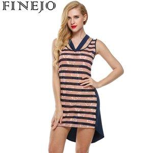 FINEJO Patchwork Sleeveless Casual Dress Striped Hem Tank Asymmetrical Women