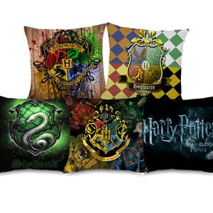 5 가지 스타일 Harry Potter 포스터 쿠션 커버 Slytherin Hufflepuff 하우스 아트 쿠션 커버 소파 장식 리넨 베개 커버