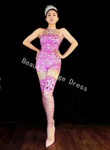 Dj ds المغنية مثير سباركلي الراين الوردي بذلة عيد احتفال الزي زي الإناث المغني بلينغ ارتداءها أداء الرقص ارتداء