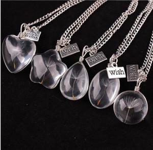 Deseo collar de collares caliente venta Real Dandelion Crystal colgantes redondos de plata collares de cadena para mujer joyería de la muchacha venta al por mayor S880