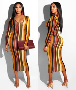 Abiti da donna autunno inverno Sexy Digital Stripe Stampa Deep V Long Sleeve Dress Maxi Dress Casual donna vestiti xl 811