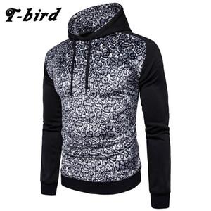 T-Bird Hoodies Hombres Leopard Print Mens Sweatshirt Moletom Masculino Casual Brand Alta calidad Hoodie Hombre Otoño Invierno Pullover
