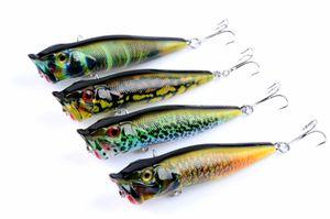 Wholesale Promotional price 4Pcs Popper Artificial bait High Quanlity fishing lures 9.5cm 12g ABS plastic poper hard Baits