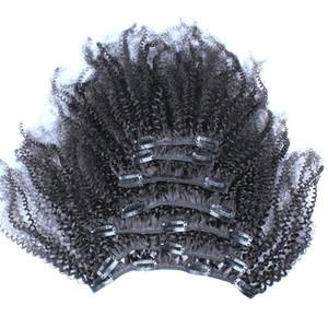 Афро кудрявый вьющиеся клип в наращивание волос натуральный черный человеческий клип в волос 100 г клип в наращивание волос для черных женщин