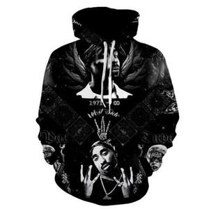 2020 새로운 패션 쿨 스웨터 후드 남성 여성 2PAC 랩 엉덩이 블랙 티 핫 스타일 스트리트 롱 슬리브 홉 인쇄 3D