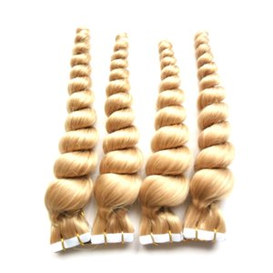 """Оптовая дешевые 8а блондинка Лента волосы свободные волнистые 200 г расширение человеческой ленты 18"""" 20 """" 22 """" 24 """" утка кожи лента В на расширение волос кожи 80 шт"""