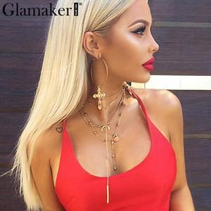 Pendientes cruzados Glamaker Fashion gold para mujer grandes cuelgan gota combinan pendientes de plata Summer club accesorios de joyería fina 2018 S914