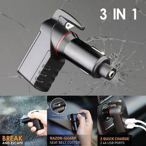 LEBEN Stinger Chargeur USB d'urgence Évasion outil chargeur de voiture fenêtre disjoncteur ceinture Cutter Nouvelle arrivée