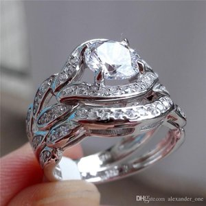 Hotstone88 Luxury 10KT white gold filled Paved CZ Diamond gemstone rings set 2-in-1 jewelry Eternal Wedding bride Band RING FINGER for Women