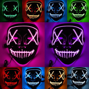 Halloween Creepy LED Light Masks 9 Colors Fluorescence Cool Party Masks PVC Skeleton Costume Accessories Free Shipping