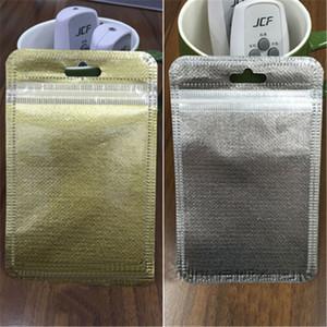 10 * 18/11 * 20/12 * 22 centímetros não tecido Resealable Zipper plástico Retail Packaging pacote de varejo saco de prata dourado Opp para USB cabo fones de ouvido