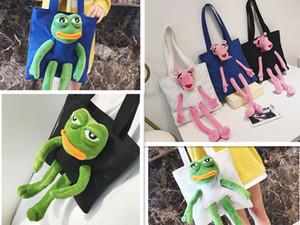 Girls Women Sad Frog Canvas Shoulder Bag Purse Doll Cute Shopping Bag Tote