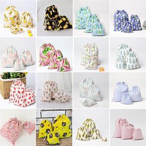 Toptan-Yeni moda küçük pamuk torbaları saklama torbaları Paketi cebi Çekme halatı karikatür çanta hediye çantası I146