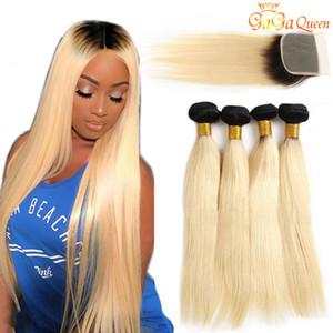 Yeni Geliş 1B 613 Kapatma Dantel Kapatma Brezilyalı Virgin Saç atkılı 613 Sarı saçlı olan Ombre Düz İnsan Saç Paketler
