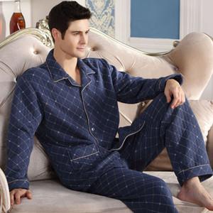 Mode Automne Hommes Pyjamas Accueil Vêtements Manches Longues Hiver Chaud Pyjamas Vêtements de Nuit Mâle Épaissir Coton Sommeil Lounge M-4XL Taille en gros