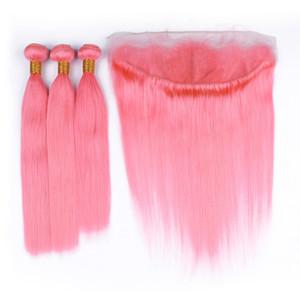 Silky droite Rose Lace Frontal Fermeture avec Bundles Lumière Rose Indien cheveux humains Weave Bundles avec Oreille à l'oreille Frontal
