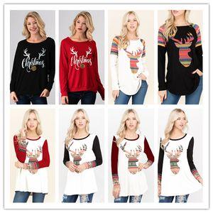 12 Arten Weihnachten T-Shirt Frauen Plaid Shirts Deer Druck Tops Langarm Bluse Lose Beiläufige Tees Druck Blusas Frauen Designer t-shirts