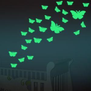 11 pçs / lote Linda Cor Criativa Mudando ABS Borboleta LEVOU Luzes Da Noite Lâmpada Bela Casa Decorativa adesivos de Parede Nightlights