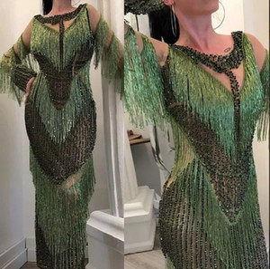 2018 luxo yousef aljasmi vestidos de baile que bling lantejoulas frisado trem da varredura árabe formal do partido desgaste do partido borla plus size vestidos de noite