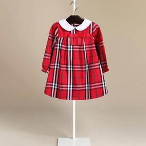 5 색상 뜨거운 판매 2018 새로운 도착 봄 여자 아이 긴 소매 bowknot 드레스 아이 인과 고품질 면화 아기 아이 옷깃 격자 무늬 드레스