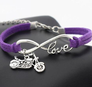 Vintage Silver LOVE Infinity Charm Motorcycle Bracelet Bangle For Women Mixed color Velvet Rope Bracelets Jewelry Accessories NEW 20pcs