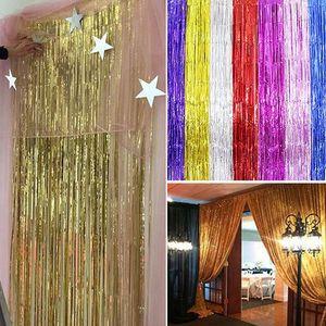 Folie Lametta Vorhang für Hochzeit Home Zimmer Fringe Vorhänge Tür Dekoration Fringe Vorhänge Metallic Party Hochzeit Folie Lametta Wand Dekor