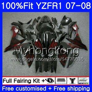 Corpo iniezione per YAMAHA YZF R 1 YZF 1000 YZFR1 07 08 227HM.18 YZF R1 07 08 YZF1000 YZF-1000 YZF-R1 Fiamme rosse nuovo 2007 Kit carenatura 2008