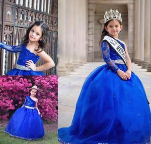 Little Miss Pageant Dresses Long Sleeve One Shoulder Royal Blue Crystals Beadings Belt Ball Gown Party Gowns Prom Dresses Custom Made