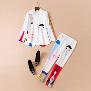 Avrupa ve Amerikan kadın giyim sonbahar 2018 toka ceket + pantolon takım elbise bir tahıl baskı yeni Uzun kollu Karikatür