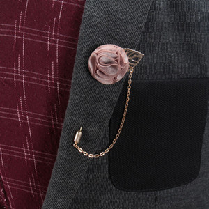 수제 고품질 패션 붉은 꽃 체인 옷깃 핀 남성 브로치 / 웨딩 장식 / 코사지 / brosche / broszka / 도매