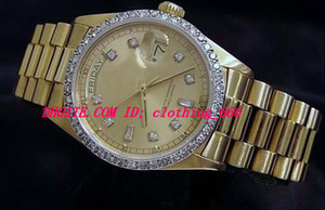 Top Quality Luxury Watches Wristwatch 18k Yellow Gold Diamond Dial & Bezel 18038 Watch Automatic Mens Men's Watch Watches