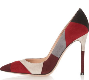 Trasporto di goccia a buon mercato Donne di alta qualità Moda Pelle scamosciata Griglia Patchwork Colore Tacchi alti Scarpe con il vestito formale Scarpe