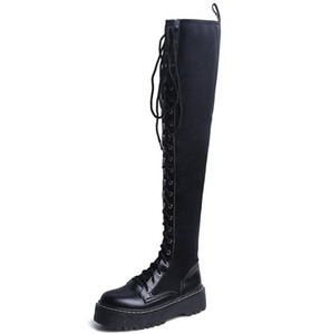 New fashion sexy women over knee high long winter boots genuine leather black thigh high boots woman Sheepskin luxury shoe