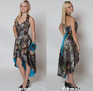 Camo 안녕하세요 신부 들러리 드레스 짧은 전면 긴 다시 웨딩 파티 드레스 위장 하녀 명예 가운 홀터 웨딩 게스트 드레스
