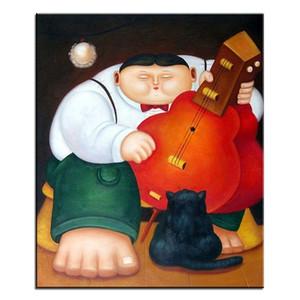 Fernando Botero Style, Fat Man Hochwertige handgemalte klassische Porträtkunst Ölgemälde auf Leinwand Multi Größen / Rahmenoptionen