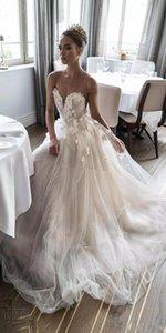 Neue Schatz Rüschen Mieder Brautkleider Elihav Sasson Brautkleid 3D Rose Blumen Bodenlangen Brautkleider