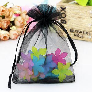 Großhandel 200er 5x7cm Organza Weihnachten Taschen Hochzeit Drawable Organza Voile Geschenk-Verpackung Taschen Günstige Pouches Taschen