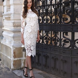 Fashion Ivory Lace Formal Short Sheath Evening Dresses Sexy 3 4 Long Sleeves High Neck Elegant Short Evening Gowns Gorgeous Celebrity Dress