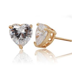 (376E) Orecchini a bottone cuore placcato in oro 18 carati per donna realizzati in rame ecologico Copper zirconia (9 mm)