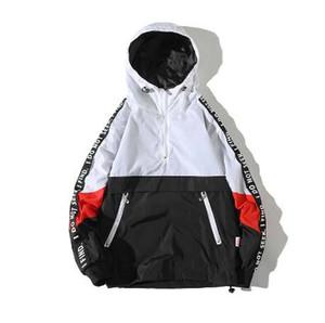 Legible Patchwork Siyah Kazak Ceket Moda Eşofman Rahat Ceket Erkekler Rüzgarlık Hip Hop Streetwear Kapşonlu Ceketler Erkekler