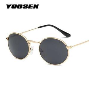 YOOSKE круглые солнцезащитные очки Женщины Марка дизайнер море цвет солнцезащитные очки прозрачный Matel кадр ясно Кошачий глаз очки фиолетовый оттенки