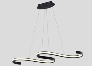 Moderna minimalista Led Pendant Light Saluto droplights Black Island Apparecchio di illuminazione 45W Lampadari dell'interno per sala Soggiorno Cucina