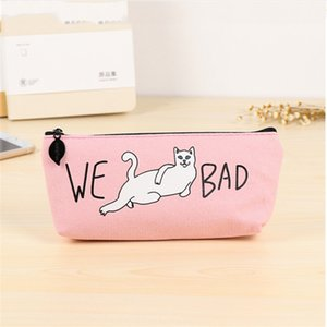 Stationery Storage Coin Purses School Girl Canvas Large Capacity Pencil Bag Funny We Bad Cat Pattern Student School Pencil Case