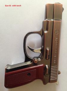 2 em 1 criativo pistola Gun forma cigarro Isqueiro modelo de metal 75 cal.5 papa à prova de vento Gás Butano Recarregável + luz led