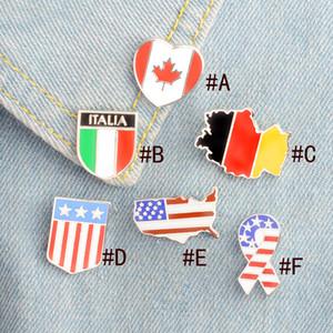 Amerikan İtalya Kanada Alman Ulusal Bayrak Tasarım Emaye BROOK