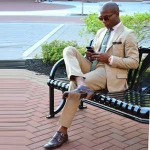 Slim Fit Beige Wedding Men Suits Business Prom Wear 2 Pieces (Jacket+Pants) Groom Tuxedos Bridegroom Suits Blazer