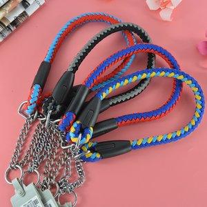 Cores duplas de alta qualidade Strong Round Rope Dog Pet Colar Dog Chain Necklace Control